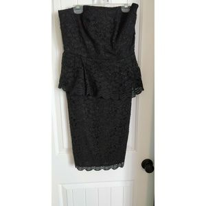 Ann Taylor Black Lace Peplum Dress
